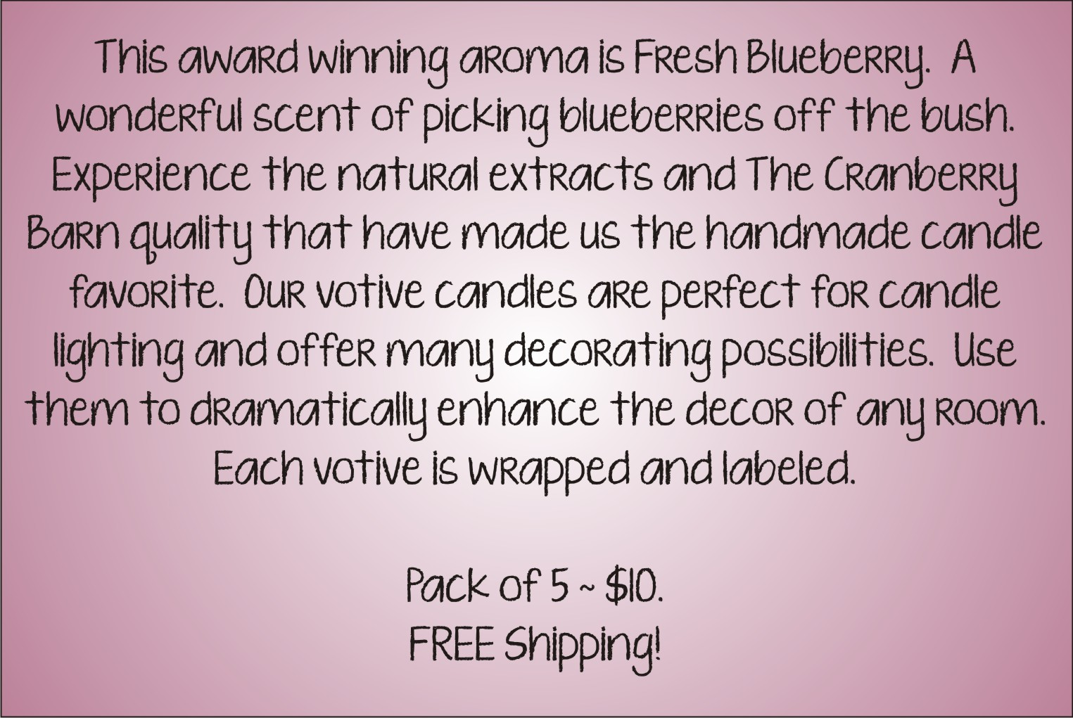 Votive Description - Blueberry