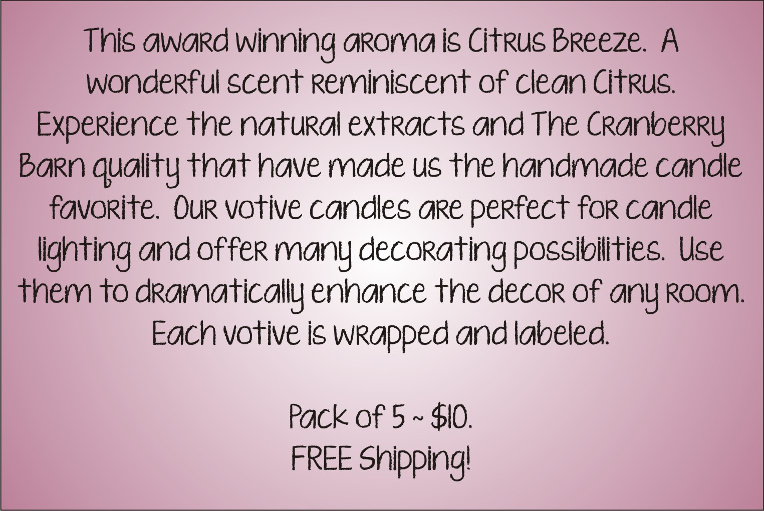 Votive Description - Citrus Breeze