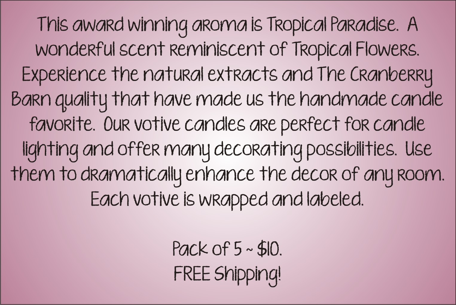 Votive Description - Tropical Paradise